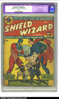 """Shield-Wizard Comics #1 (MLJ, 1940) CGC Apparent GD 2.0 Slight (A) Cream pages. CGC notes: """"Restoration includes: t..."""