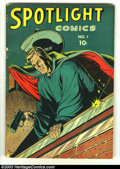 Golden Age (1938-1955):Adventure, Spotlight Comics #1 (Harry 'A' Chesler, 1944) Condition: VG. The Black Dwarf, the Veiled Avenger, and Barry Kuda begin. Geor...