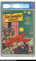 "Golden Age (1938-1955):Superhero, Star Spangled Comics #43 (DC, 1945) CGC VF+ 8.5 White pages. CGC notes, ""Small erasure on cover."" Still, this meets earning ..."