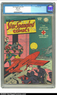 "Star Spangled Comics #43 (DC, 1945) CGC VF+ 8.5 White pages. CGC notes, ""Small erasure on cover."" Still, this..."