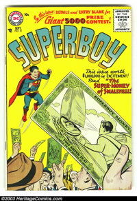 Superboy #51 (DC, 1956) Condition: FN/VF. Tough issue from the tail end of the Golden Age. Overstreet 2003 FN 6.0 value...