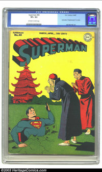 "Superman #45 (DC, 1947) CGC VF+ 8.5 Off-white to white pages. Lois Lane is ""Superwoman"" in a story; Jack Burnl..."