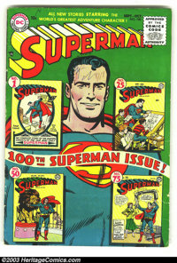 Superman #100 (DC, 1955) Condition: VG. Key 100th issue that pictures #1 on the cover. Overstreet 2003 VG 4.0 value = $4...