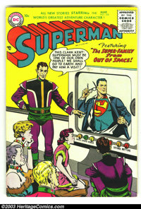 Superman #104 (DC, 1956) Condition: FN/VF. Tough book from the end of the Golden Age. Overstreet 2003 FN 6.0 value = $12...
