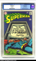 """Silver Age (1956-1969):Superhero, Superman #213 Double Cover (DC, 1969) CGC VF 8.0 Off-white pages. CGC notes: """"first cover 7.0, interior cover 8.0"""". Braniac ..."""