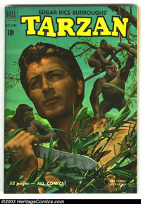 Tarzan Lot (Dell, 1950s). #21 VF-, #39 VF-, #59 VG-, #106 FN+, #95 VG and Tarzan Jungle Annual #3 (Dell Giant) VF-. Over...