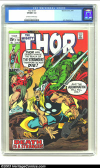 Thor #178 (Marvel, 1970) CGC VF/NM 9.0 Off-white to white pages. John Buscema art. Overstreet 2003 VF/NM 9.0 value = $33...