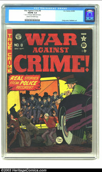 "War Against Crime #8 (EC, 1949) CGC VG/FN 5.0 Cream to off-white pages. Craig cover, Feldstein art. 1"" tear on 13th..."