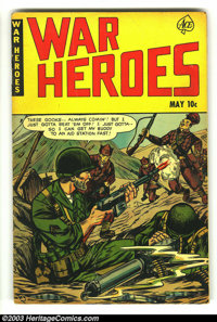 War Heroes #1 and #2 (Dell, 1952) Condition: VG- and GD. The first two issues of this short-lived war comic. Issue #1 gr...