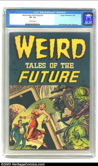Weird Tales of the Future #1 (Aragon, 1952) CGC VF- 7.5 Off-white pages. Here is one of those covers! Spectacular in com...