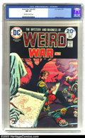 Bronze Age (1970-1979):War, Weird War Tales #25 (DC, 1974) CGC NM 9.4 Off-white to white pages.Solid black cover in Near Mint condition. Overstreet 200...