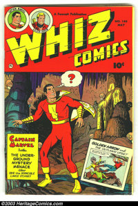 Whiz Comics #145 (Fawcett, 1952) Condition: FN-. Cover detached from bottom staple. Overstreet 2003 FN 6.0 value = $72...