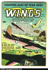 Wings Comics #34 (Fiction House, 1943) Condition: VF-. Really pretty copy with an A. Saff cover of air battle over Japan...