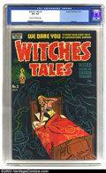 Golden Age (1938-1955):Horror, Witches Tales #2 (Harvey, 1951) CGC VF+ 8.5 Cream to off-white pages. Injury to eye panel. The solid black cover has got to ...