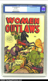 "Women Outlaws #nn (Fox, 1949) CGC VF 8.0 Cream to off-white pages. This is a perfect example of the ""headlight""..."