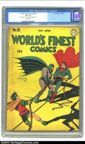 "Golden Age (1938-1955):Superhero, World's Finest Comics #19 (DC, 1945) CGC VG- 3.5 Off-white pages. CGC notes: ""one piece of tape on cover, one piece on inter..."