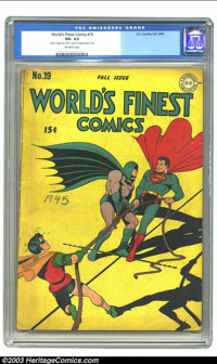 """World's Finest Comics #19 (DC, 1945) CGC VG- 3.5 Off-white pages. CGC notes: """"one piece of tape on cover, one piece..."""
