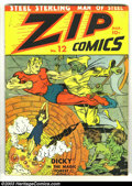 Golden Age (1938-1955):Superhero, Zip Comics #12 (MLJ, 1941) Condition: GD+. Biro bondage cover. Meskin art. Steel Sterling, the Scarlet Avenger, Nevada Jones...