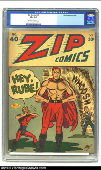 Zip Comics #40 (MLJ, 1943) CGC VF+ 8.5 Off-white to white pages. Red Rube had first appeared in the previous issue, grad...