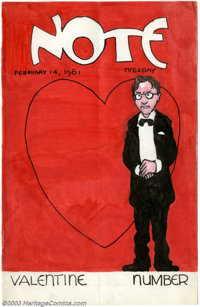 "Robert Crumb - ""Note"" for Tuesday, February 14th, 1961 ""Valentine Number"". The cover artwork to one..."