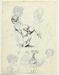 Original Comic Art:Sketches, Robert Crumb - Original Art Illustrations (undated). A two-sided sheet with several small Robert Crumb sketches. Side one is...