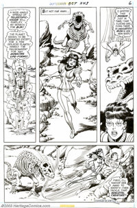 Curt Swan - Original Art for Superman #243 (DC, 1971). Rija (in her new body, of course) is chased by a skeletal dinosau...