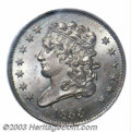 1833 1/2 C MS64 Brown PCGS. B-1, C-1, R.1. Manley Die State 1.0. Stars 2 through 7 feature a bold die crack, and Liberty...