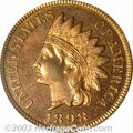 Proof Indian Cents: , 1898 1C PR65 Red PCGS. Seemingly earmarked for inclusion ...