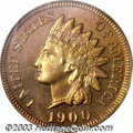 Proof Indian Cents: , 1900 1C PR65 Red PCGS. The lustrous surfaces are awash in ...