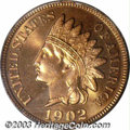 Proof Indian Cents: , 1902 1C PR65 Red PCGS. Intensely lustrous, the richly ...