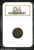 Proof Indian Cents: , 1872 1C PR66 Brown NGC. A deeply toned specimen with ...