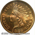 Proof Indian Cents: , 1886 1C Type One PR66 Red PCGS. This cherry-red Gem is ...