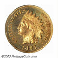 Proof Indian Cents: , 1891 1C PR65 Red Cameo PCGS. A few blushes of orange and ...