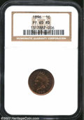 Proof Indian Cents: , 1896 1C PR65 Red NGC. The 6 in the date is recut within ...