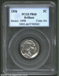 Proof Buffalo Nickels: , 1936 5C Type Two--Brilliant Finish PR66 PCGS. A dazzling, ...