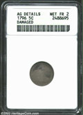 Early Half Dimes: , 1796 H10C --Damaged--ANACS. AG Details, Net Fair 2. V-1, ...