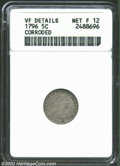 Early Half Dimes: , 1796 H10C --Corroded--ANACS. VF Details, Net Fine 12. V-1, ...