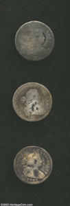 Early Half Dimes: , 1797 H10C 16 Stars VG8 Severely Damaged, Corroded, ... (3 coins)