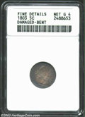 Early Half Dimes: , 1803 H10C Small 8--Damaged, Bent--ANACS. Fine Details, Net ...