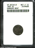 Early Half Dimes: , 1805 H10C --Damaged, Bent--ANACS. VF Details, Net Fine 12 ...
