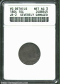 Early Dimes: , 1804 10C 13 Stars on Reverse--Severely Damaged--ANACS. VG ...