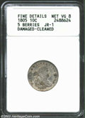 Early Dimes: , 1805 10C 5 Berries--Damaged, Cleaned--ANACS. Fine Details, ...