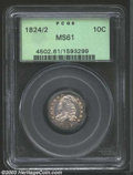 Bust Dimes: , 1824/2 10C MS61 PCGS. JR-1, R.3. Blushes of medium ...