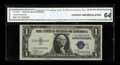 Small Size:Silver Certificates, Fr. 1610* $1 1935A S Silver Certificate. CGA Choice Uncirculated 64.. Pleasing paper quality is noted through the third part...