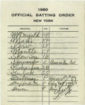 Autographs:Others, 1960 New York Yankees World Series Game Five Line-Up Card. An earlymelt-down saw Art Ditmar driven from the mound in the s...