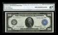 Fr. 1104 $100 1914 Federal Reserve Note CGA Gem Uncirculated 67. The note's original embossing can be easily seen throug...