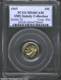 1965 10C SMS MS68 Cameo PCGS. Both sides have warm apricot color, while the left reverse border has a blush of violet pa...
