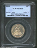 Proof Seated Quarters: , 1861 25C PR63 PCGS. An exquisitely struck specimen with ...