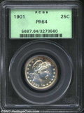Proof Barber Quarters: , 1901 25C PR64 PCGS. A nice cameo effect is created by ...