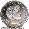 Proof Barber Quarters: , 1911 25C PR67 Cameo NGC. Exquisite and sure to delight ...